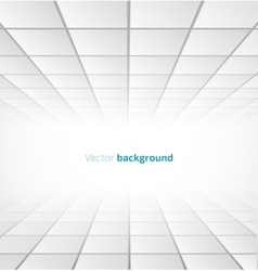 Abstract white tiled background with a perspective vector