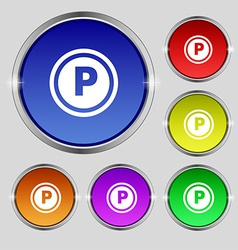 Car parking icon sign round symbol on bright vector