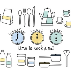 Time to cook and eat flat icon vector
