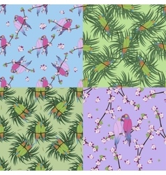 Four seamless pattern with colourful parrot vector