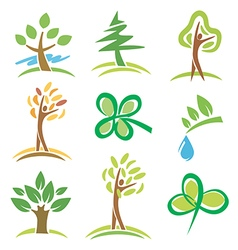 Icons trees plant vector image