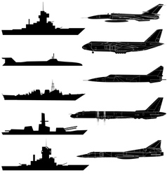 A set of military aircraft ships and submarines vector