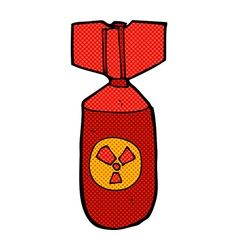 Comic cartoon nuclear bomb vector