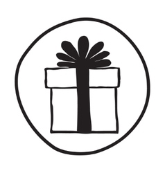 Doodle gift box icon vector