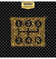 Gold glitter icon of gearbox isolated on vector