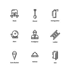 9 firefighter icons vector image