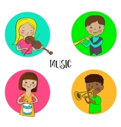 Musician children set of round icons vector