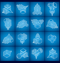 abstract set isometric dimensional shapes vector image