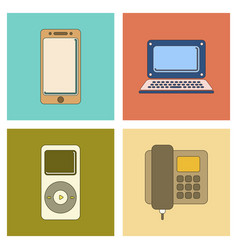 Assembly flat icon office phone music player vector