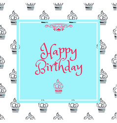 birthday card in blue square vector image