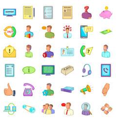 Business speech icons set cartoon style vector