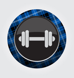 Button with blue black tartan - dumbbell icon vector