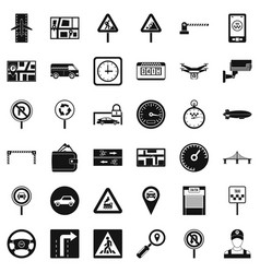 Car in city icons set simple style vector