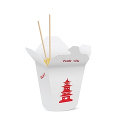 Chinese restaurant opened take out box vector image vector image