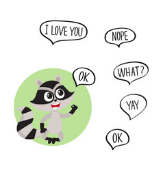 cute little raccoon character with ok word in vector image vector image