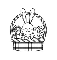 Easter rabbit basket egg decoration line vector