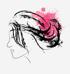fashion portrait of woman in profile with splashes vector image vector image