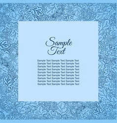 Floral doodle pattern frame blue for inscriptions vector