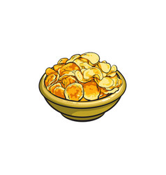 Hand drawn bowl full of crispy potato chips vector