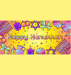 happy hanukkah celebration banner with holiday vector image vector image