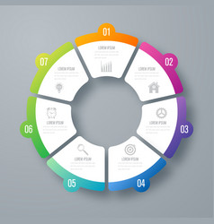 Infographics template 7 options with circle vector