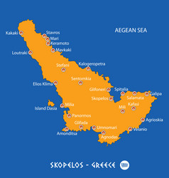 Island of skopelos in greece orange map and blue vector