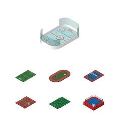 isometric sport set of run stadium tennis vector image vector image