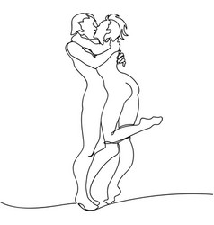 loving couple kissing continuous line drawing vector image vector image