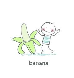 Man and banana vector image vector image