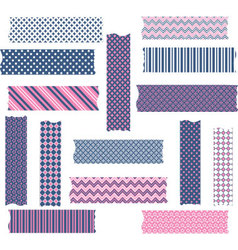 Nany and pink washi tape graphics set vector