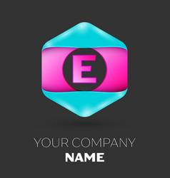 Realistic letter e logo in colorful hexagonal vector