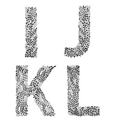 Set of letters i j k and vector