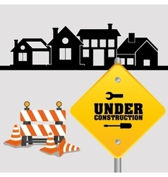 Under construction sign with cone barrier traffic vector