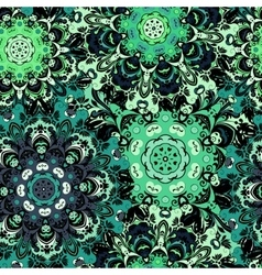 Vintage oriental seamless pattern in green colors vector image