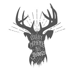 Vintage with wilderness quote on deer vector