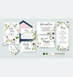 wedding invite menu rsvp thank you card design vector image