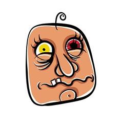 Wierd cartoon face absolute crazy numskull vector