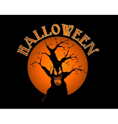 Halloween text spooky tree over orange moon eps10 vector