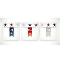 Ribbons set in the traditional colors of usa flag vector