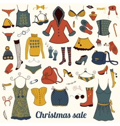 Christmas clothes set vector