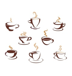 Set of steaming cups of hot beverages vector