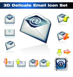 3d email icon set vector