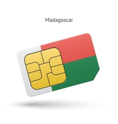 Madagascar mobile phone sim card with flag vector