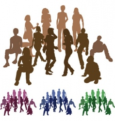 Silhouettes of firends vector
