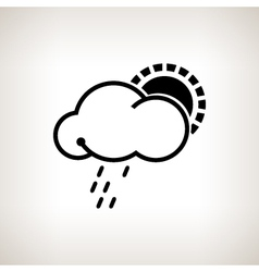 Silhouette cloud with sun and rain vector