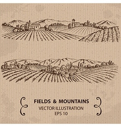 Fields and mountains vector