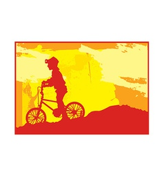 Boy bike silhouette vector