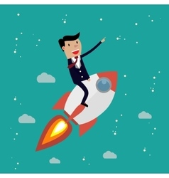 Startup business businessman on a rocket vector