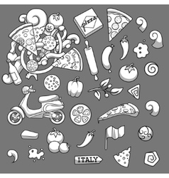 Pizza ingridients black and white design vector image