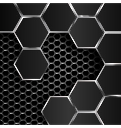 Geometric pattern of hexagons with black metal vector